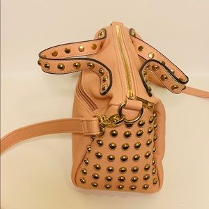 Pink Studded Bag | Gold Accented Leather Crossbody